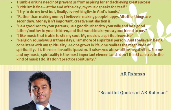 A collection of beautiful quotes from AR Rahman.