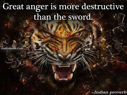 Don't let anger influence your decisions, it will eventually bring you destruction.