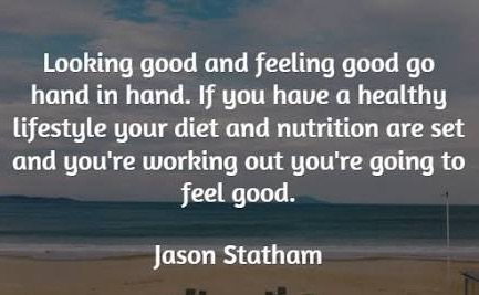 Maintain a healthy lifestyle and exercise, you will feel good about yourself.