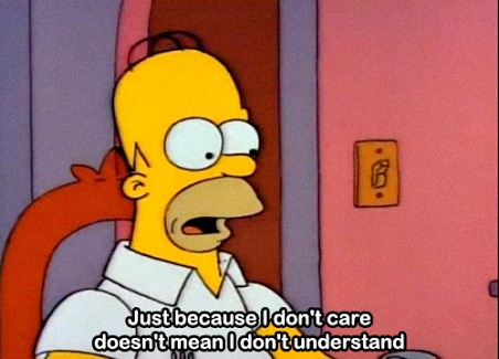 A funny quote from the Simpsons about not caring :)