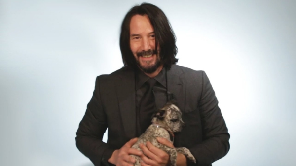 Keanu Reeves Playing with Puppies and Being a Tough Guy